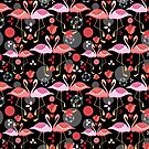 beautiful pattern lovers flamingos by Tanor
