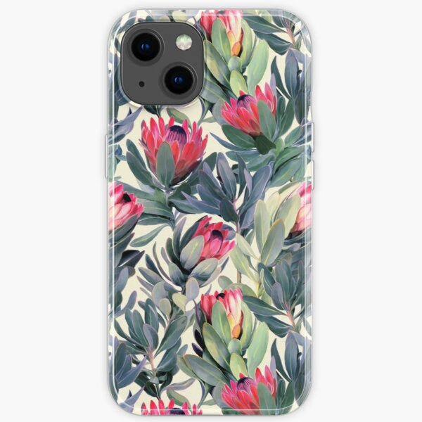 Painted Protea Pattern iPhone Soft Case