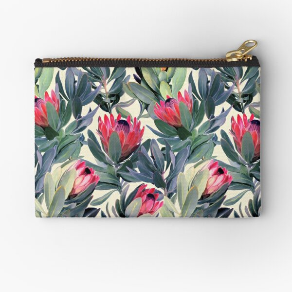 Painted Protea Pattern Zipper Pouch