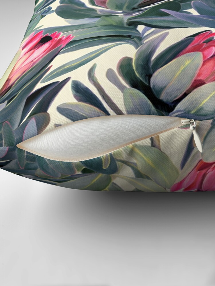 Alternate view of Painted Protea Pattern Throw Pillow