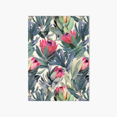 Painted Protea Pattern Art Board Print