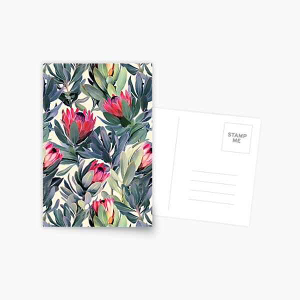 Painted Protea Pattern Postcard