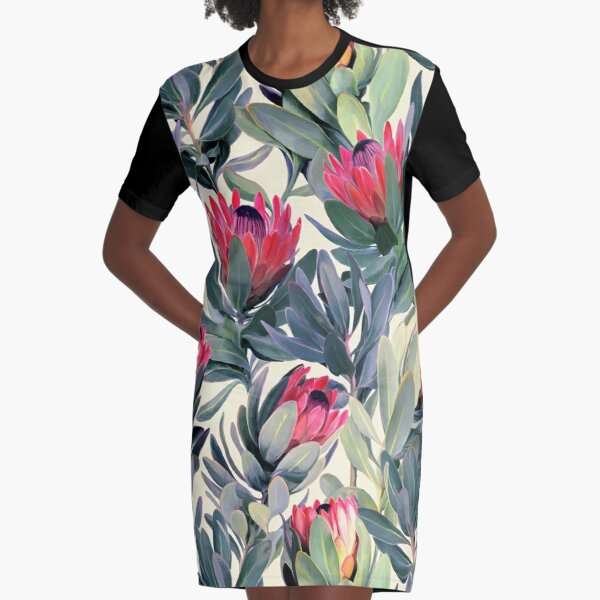 Painted Protea Pattern Graphic T-Shirt Dress