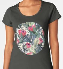 Painted Protea Pattern Premium Scoop T-Shirt