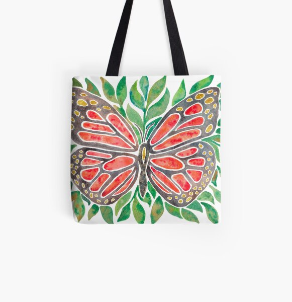 Monarch Butterly on Leaves All Over Print Tote Bag