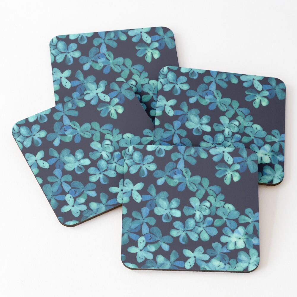 Patrón floral pintado a mano en azul marino y verde azulado Posavasos (lote de 4)