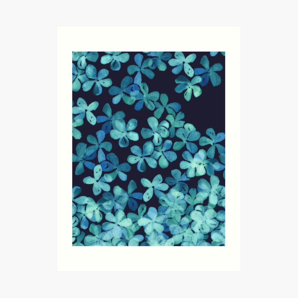 Patrón floral pintado a mano en azul marino y verde azulado Lámina artística