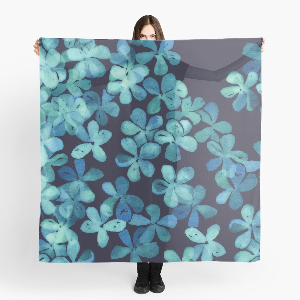 Hand Painted Floral Pattern in Teal & Navy Blue Scarf