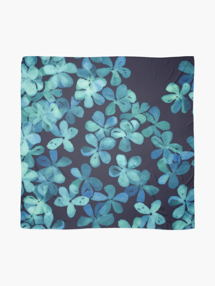Alternate view of Hand Painted Floral Pattern in Teal & Navy Blue Scarf