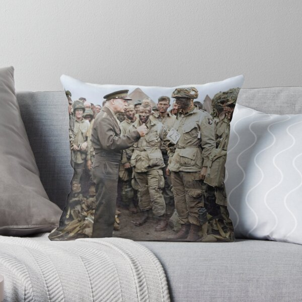 General Dwight D. Eisenhower addresses American paratroopers prior to D-Day. Throw Pillow