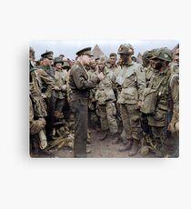 General Dwight D. Eisenhower spricht vor dem D-Day zu amerikanischen Fallschirmjägern. Leinwanddruck
