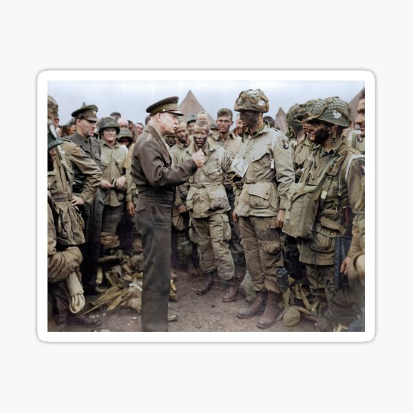General Dwight D. Eisenhower addresses American paratroopers prior to D-Day. Sticker