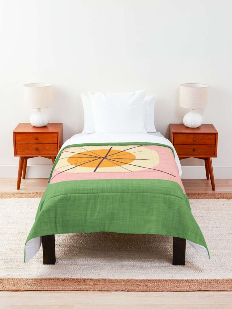 Alternate view of Flower Eggs Green-Pink #midcenturymodern Comforter