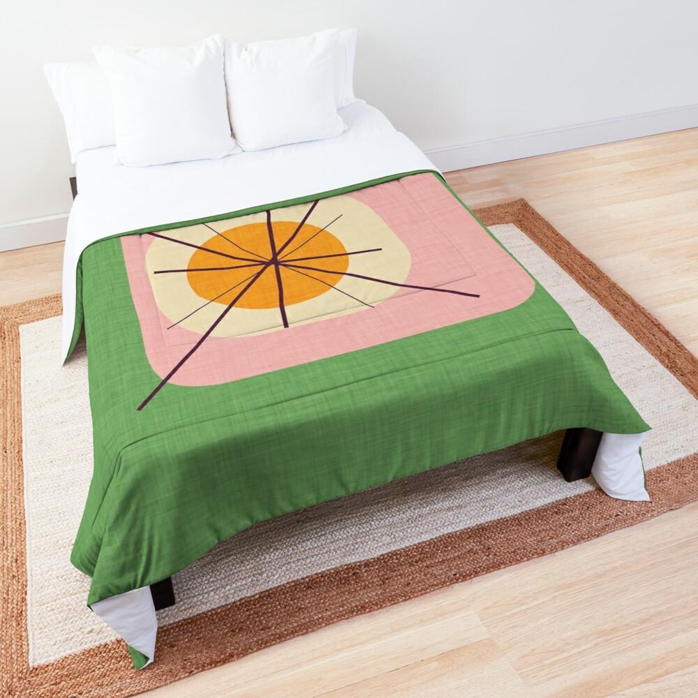 Flower Eggs Green-Pink #midcenturymodern Comforter