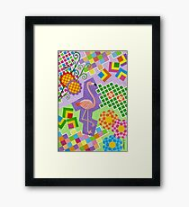 FLAMINGO IN COLORS AND SHAPES WITH SQUARS Framed Print