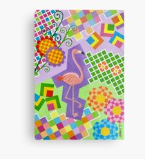 FLAMINGO IN COLORS AND SHAPES WITH SQUARS Metal Print