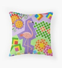 FLAMINGO IN COLORS AND SHAPES WITH SQUARS Throw Pillow