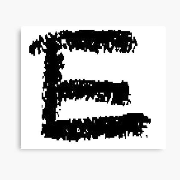 E #E alphabet art scribble typescript font #sign #symbol typeset #letter Canvas Print