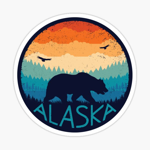 Alaska Retro Bear Sticker