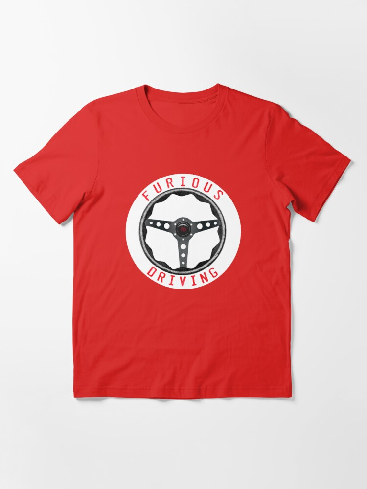 Alternate view of Furious Driving logo - White racing number circle background Essential T-Shirt