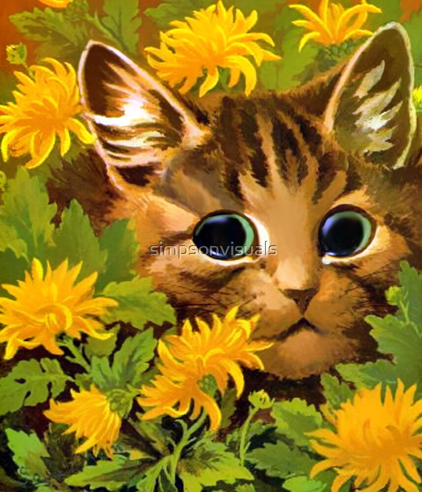 Cat Among the Flowers by Louis Wain by simpsonvisuals
