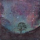 Sycamore Gap at Night with Stars by Woodland Doodles