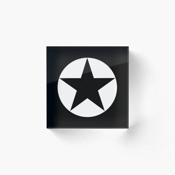 BLACK STAR in WHITE CIRCLE. Acrylic Block