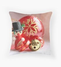 Miniature snowman, red Christmas ball and jingle bell with curled red and gold ribbon Throw Pillow
