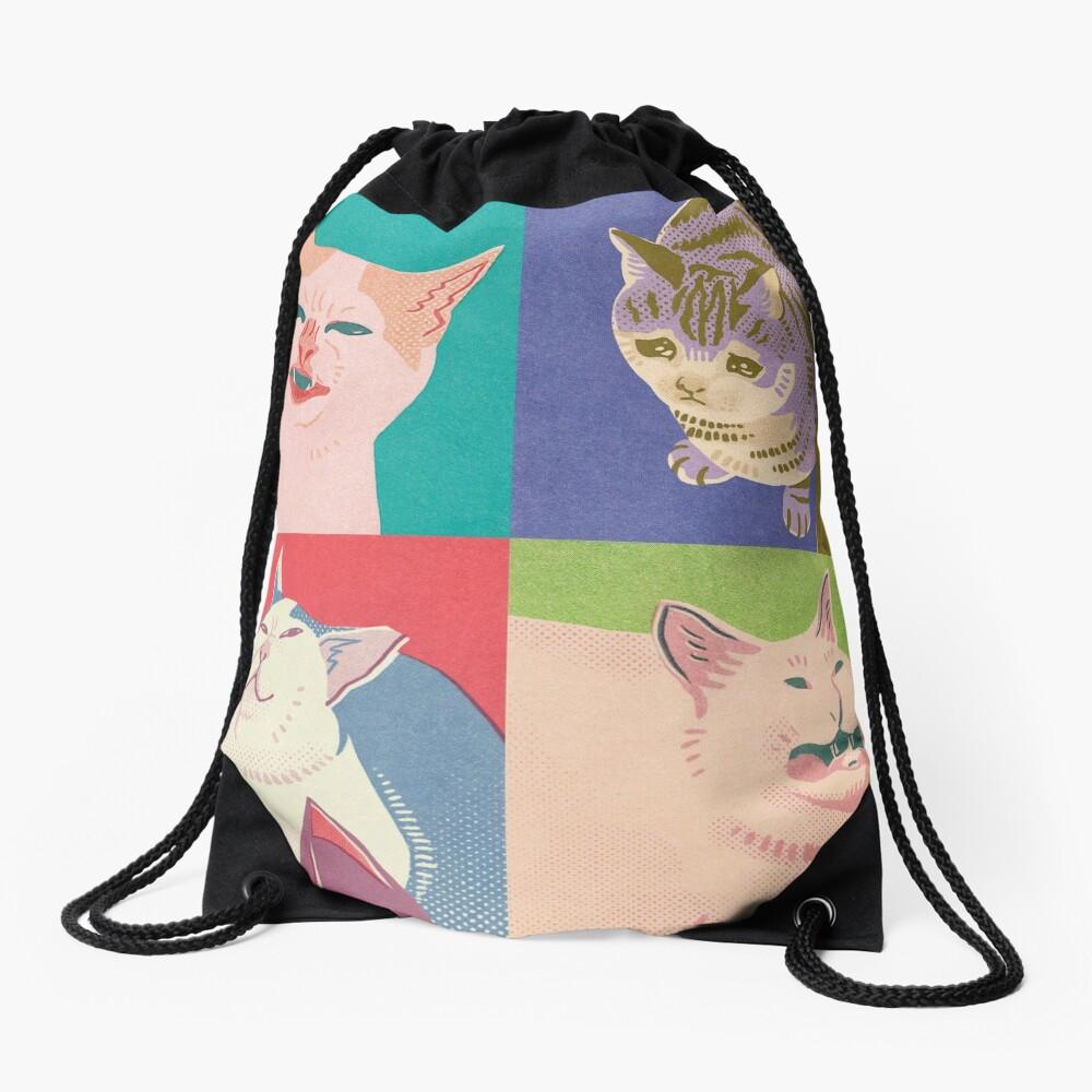 Four Meme Cats of the Apocalypse Drawstring Bag