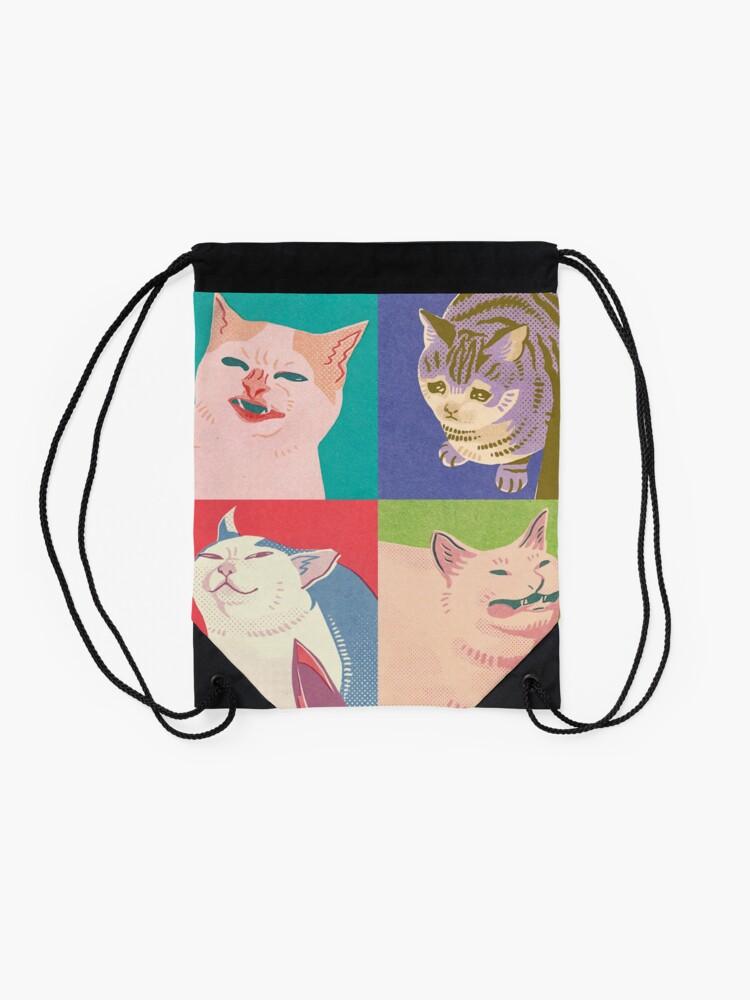Alternate view of Four Meme Cats of the Apocalypse Drawstring Bag