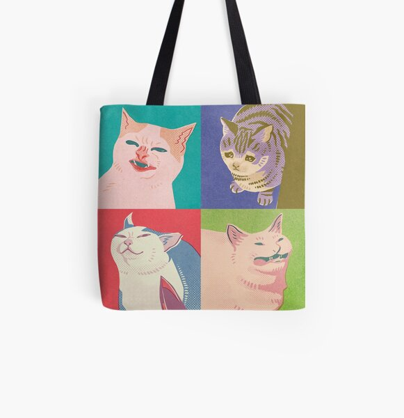 Four Meme Cats of the Apocalypse All Over Print Tote Bag