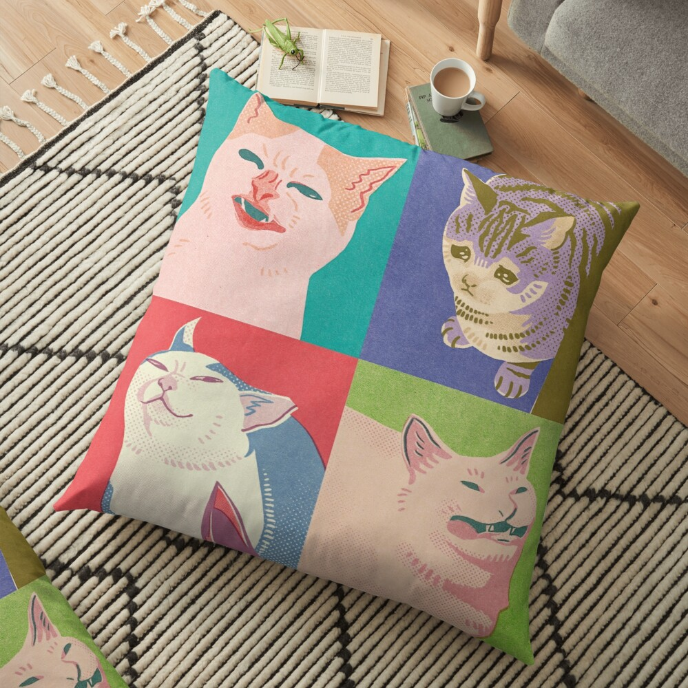 Four Meme Cats of the Apocalypse Floor Pillow