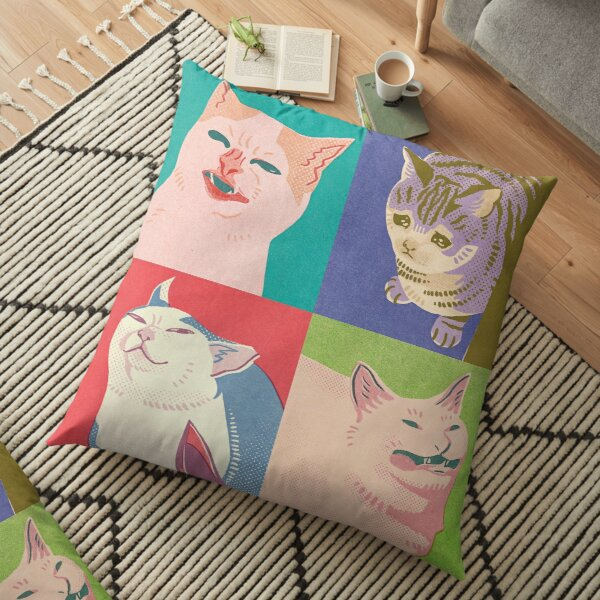 Four Meme Cats of the Apocalypse Floor Pillow