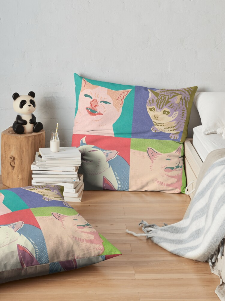 Alternate view of Four Meme Cats of the Apocalypse Floor Pillow