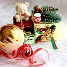Miniature boxes with teddy bear and gold ball  on white damask satin by pogomcl
