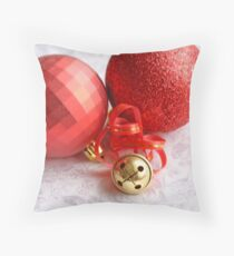 Two red Christmas balls with a brass jingle bell on whtie damask satin Throw Pillow