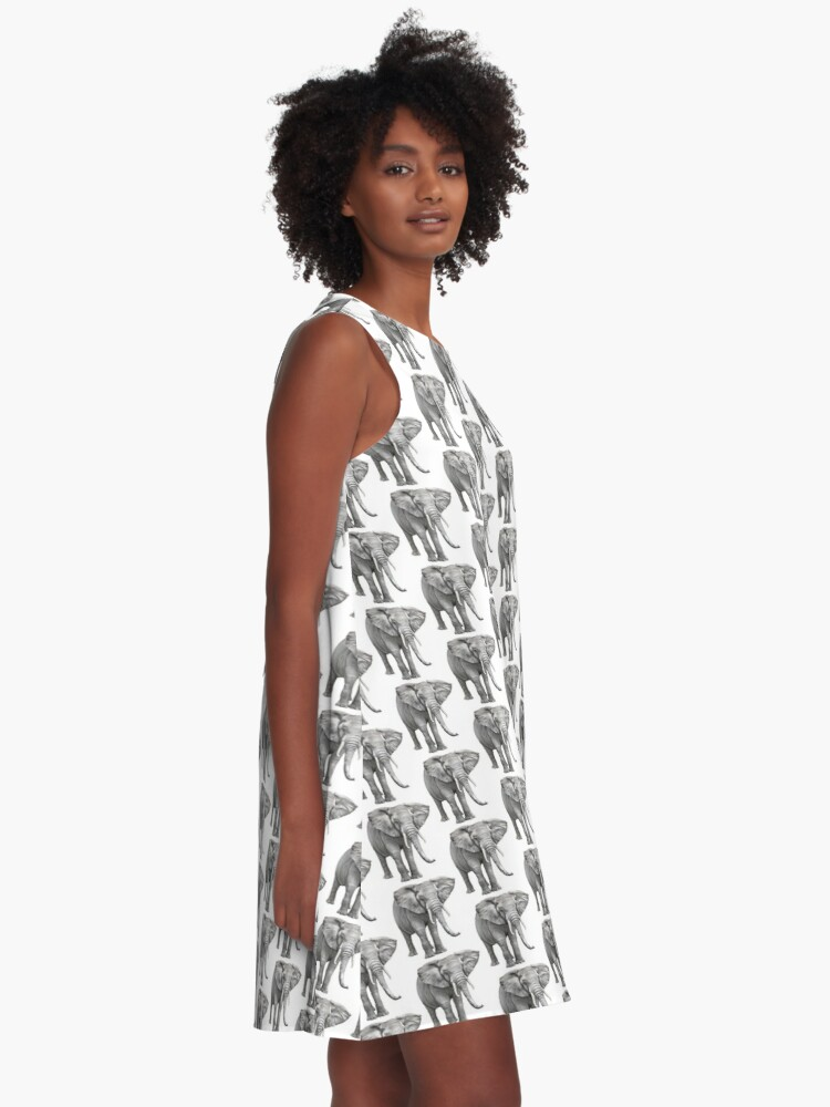 Alternate view of Large Elephant A-Line Dress