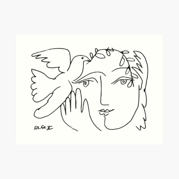 Pablo Picasso Dove and Face Artwork, For Tshirts Prints Posters Men Women Kids Art Print