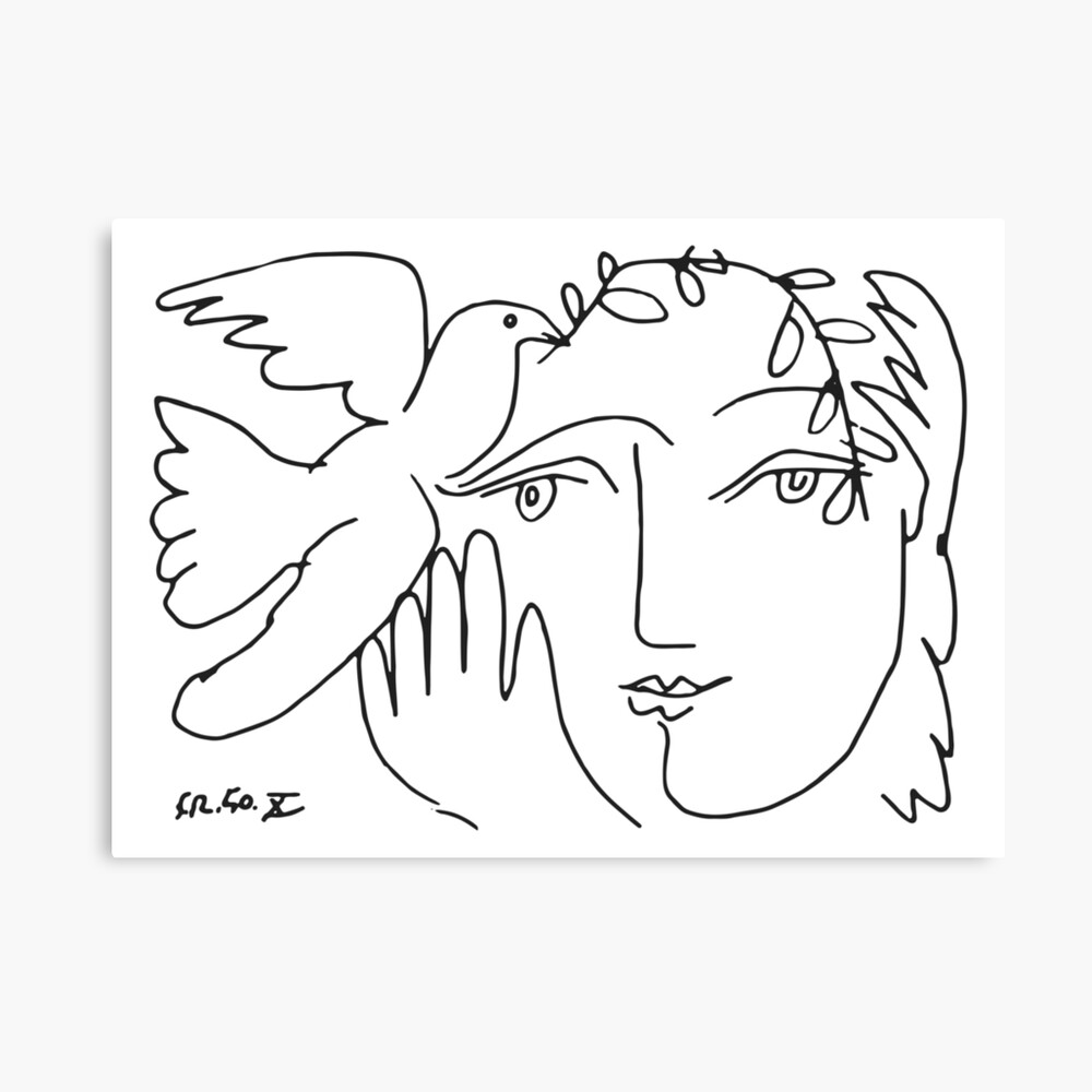 Pablo Picasso Dove and Face Artwork, For Tshirts Prints Posters Men Women Kids Canvas Print