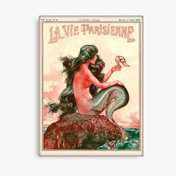 1925 La Vie Parisienne Mermaid French Nouveau Francia Travel Vintage Poster Lienzo