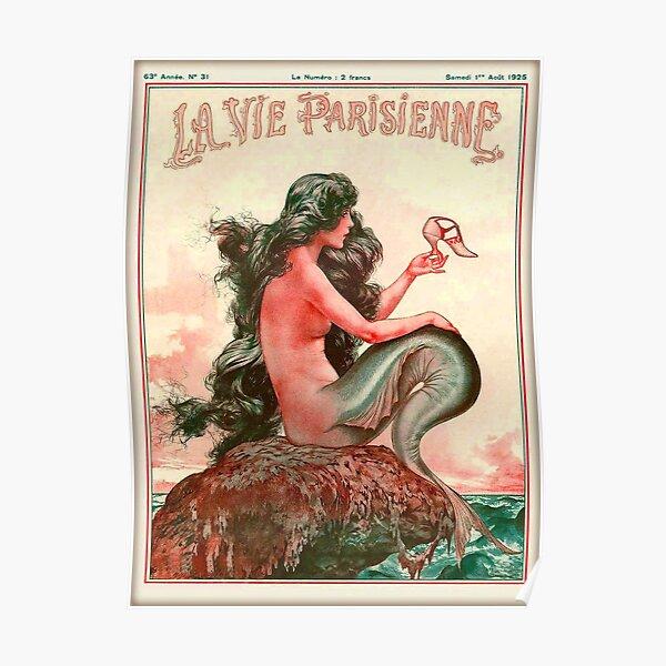 1925 La Vie Parisienne Mermaid French Nouveau France Travel Vintage Poster Poster