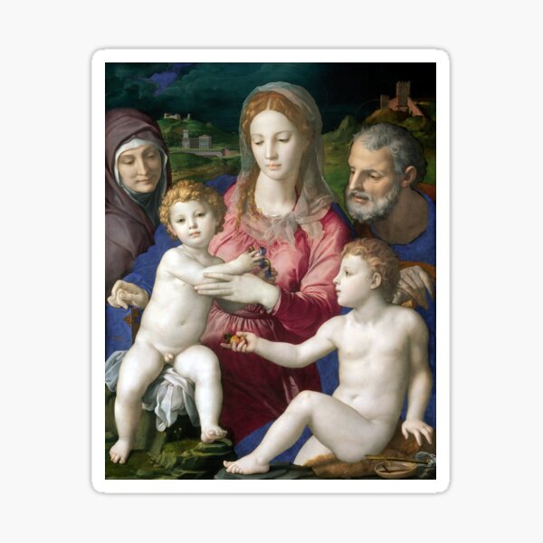 Agnolo di Cosimo, called Bronzino Holy Family with St. Anne and the Infant St. John Sticker