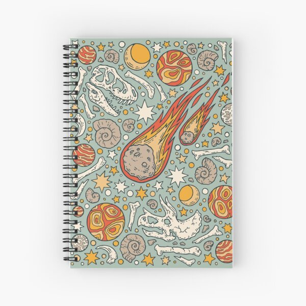 The Asteroid & the Omega || Dinosaur Fossil Space Art Spiral Notebook