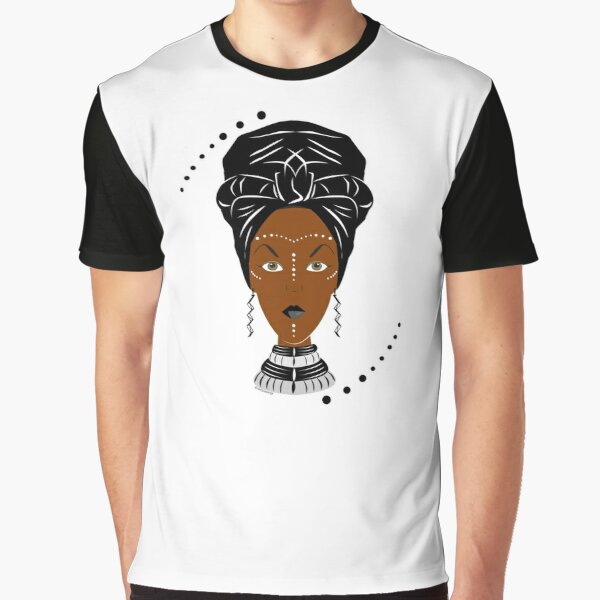 African Wrap Black & White Design Graphic T-Shirt