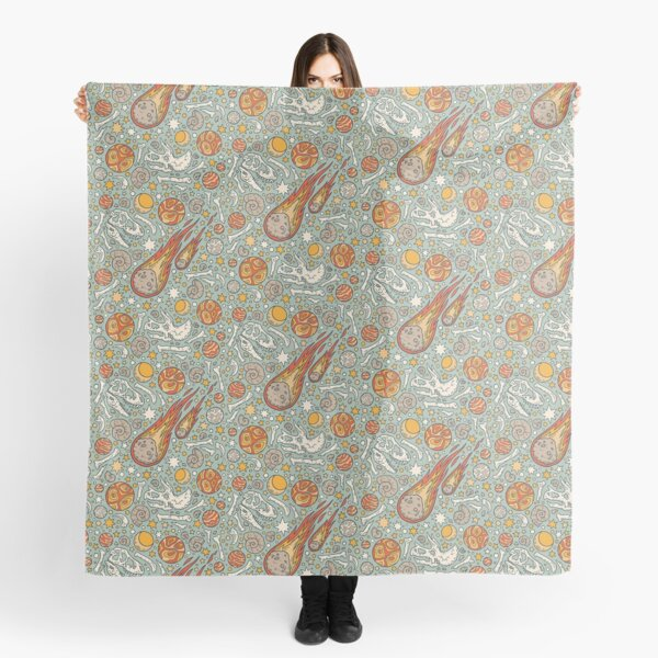 The Asteroid & the Omega    Dinosaur Fossil Space Art Scarf