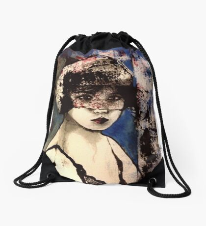 Black Widow  Drawstring Bag
