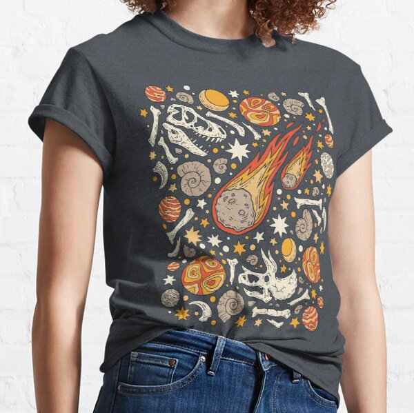 The Asteroid & the Omega || Dinosaur Fossil Space Art Classic T-Shirt