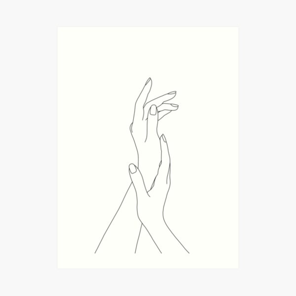 Hands line drawing - Dia Art Print
