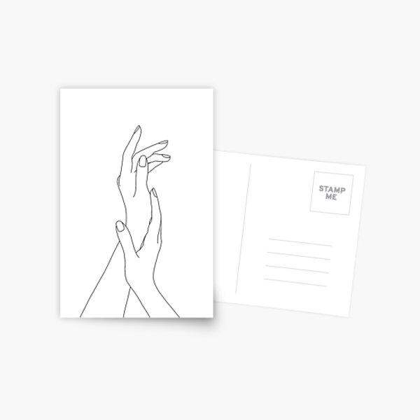 Hands line drawing - Dia Postcard