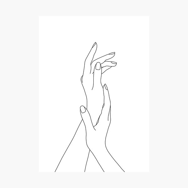 Hands line drawing - Dia Photographic Print